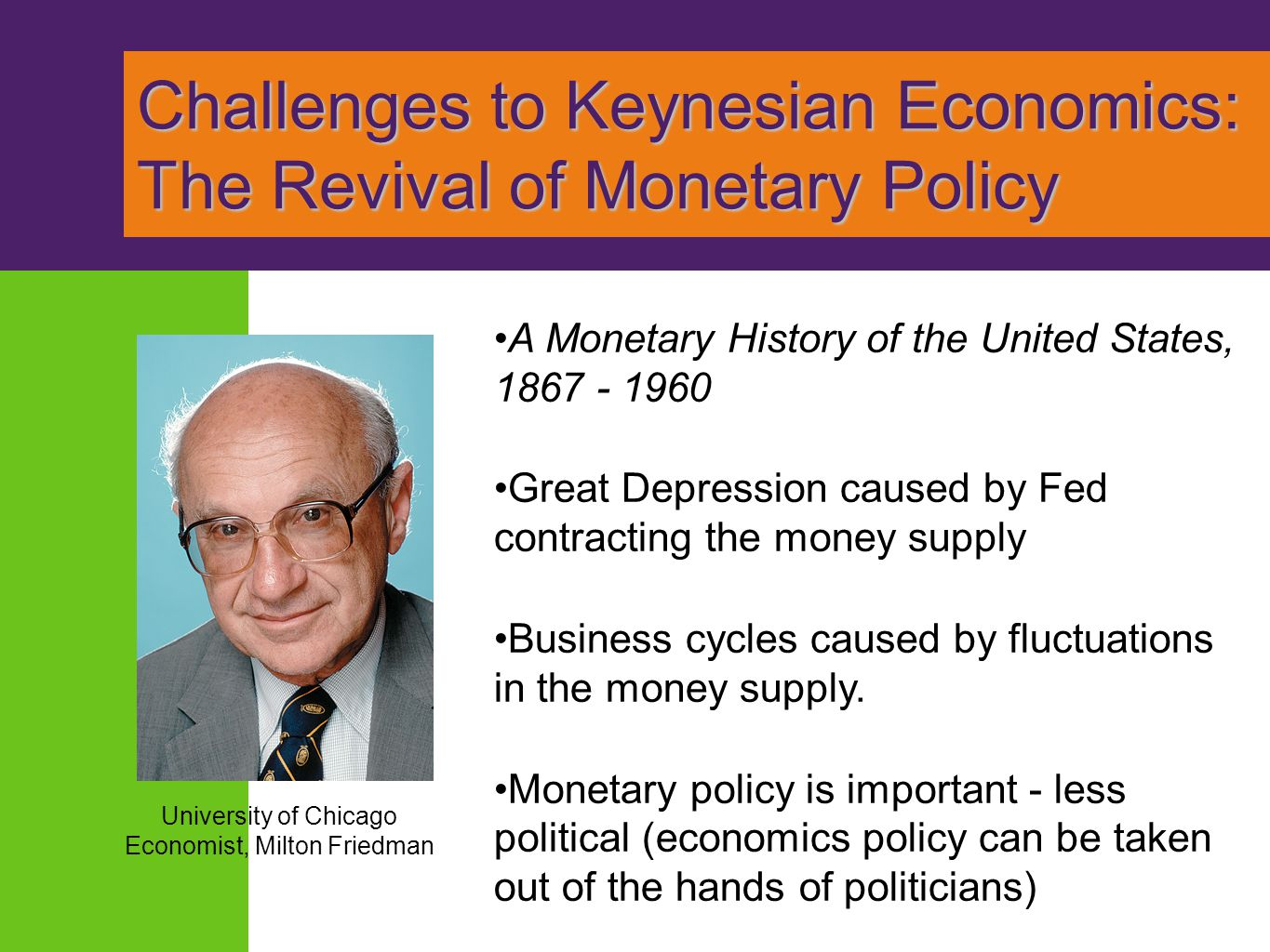 Challenges to Keynesian Economics: The Revival of Monetary Policy