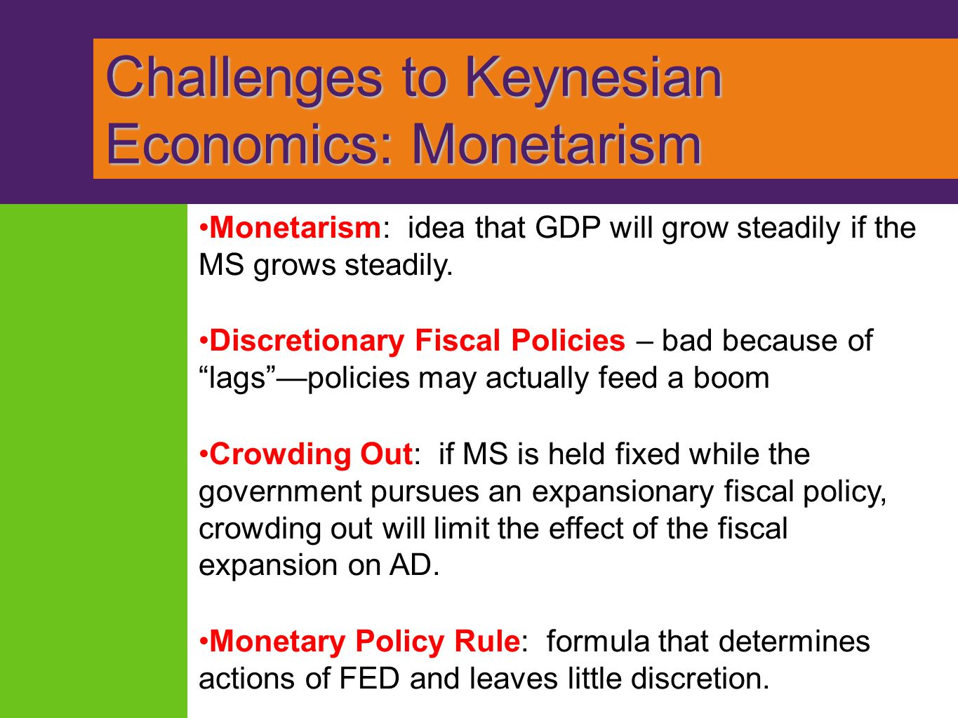Challenges to Keynesian Economics: Monetarism