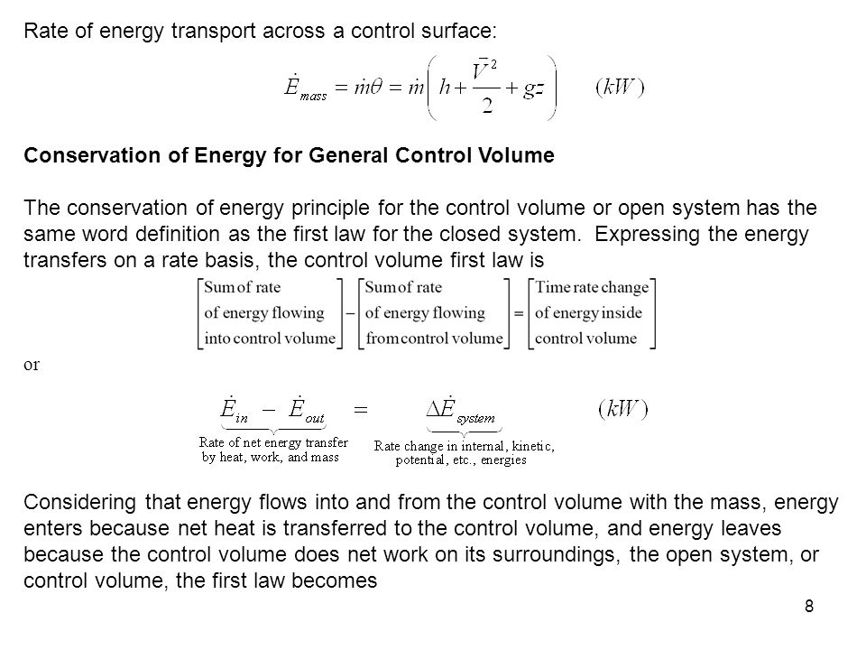 Rate of energy transport across a control surface: