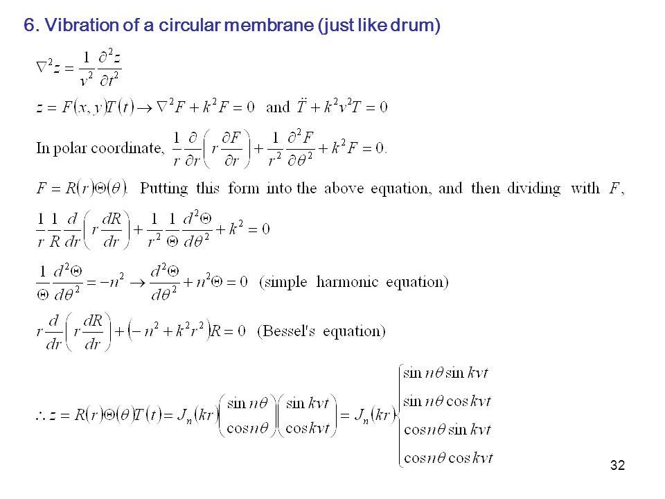6. Vibration of a circular membrane (just like drum)