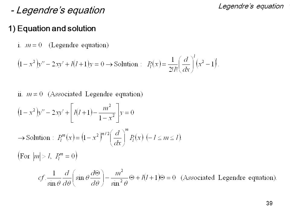 Legendre's equation 1 - Legendre's equation 1) Equation and solution