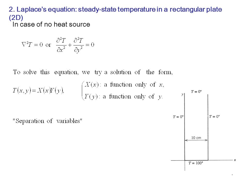 2. Laplace's equation: steady-state temperature in a rectangular plate (2D)