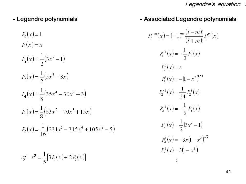 Legendre's equation 3 - Legendre polynomials - Associated Legendre polynomials