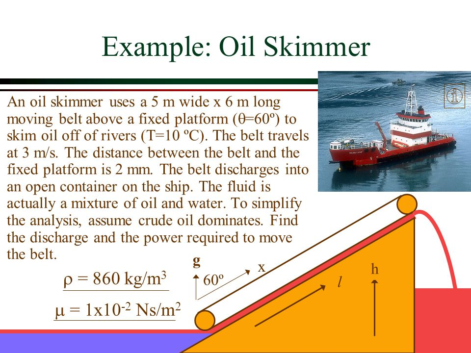 Example: Oil Skimmer r = 860 kg/m3 m = 1x10-2 Ns/m2