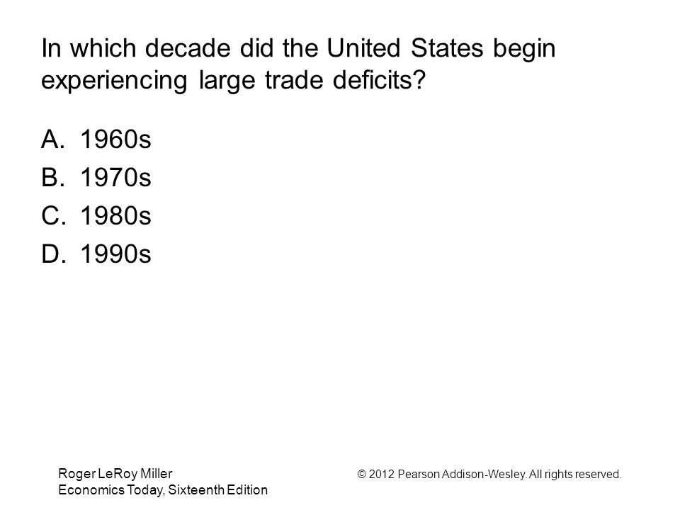 In which decade did the United States begin experiencing large trade deficits