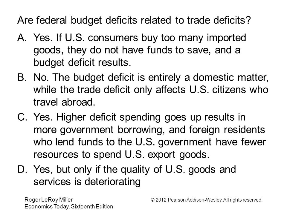 Are federal budget deficits related to trade deficits