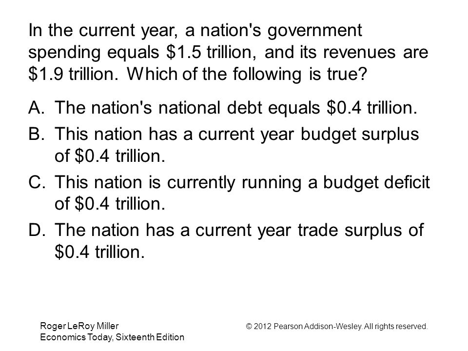 The nation s national debt equals $0.4 trillion.