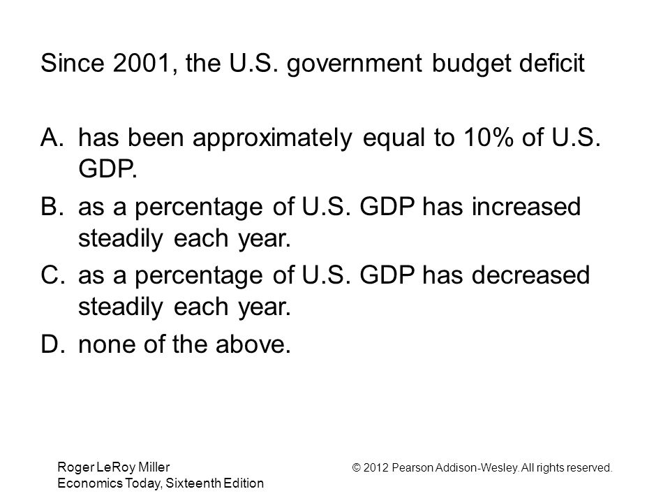 Since 2001, the U.S. government budget deficit