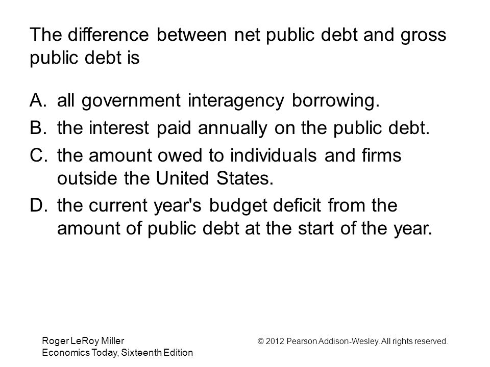 The difference between net public debt and gross public debt is