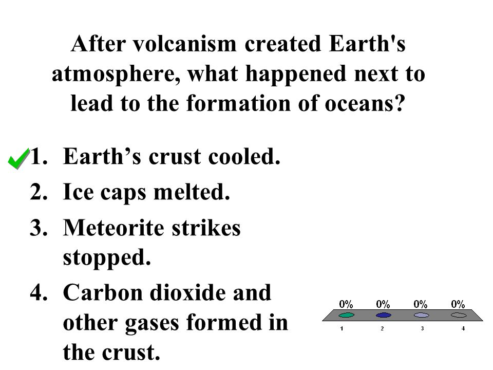After volcanism created Earth s atmosphere, what happened next to lead to the formation of oceans
