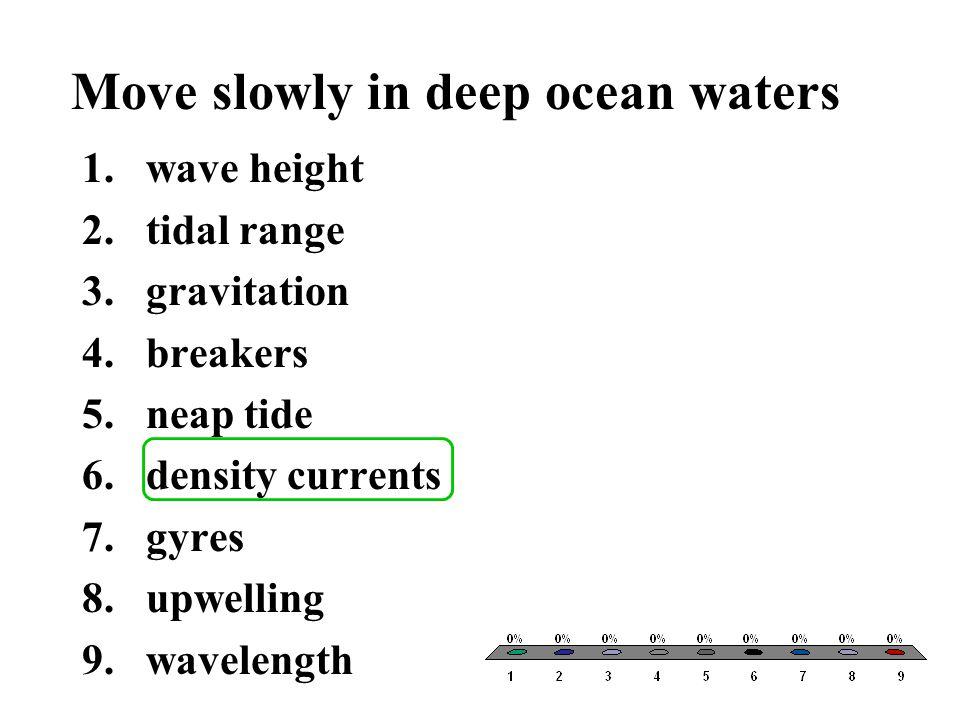 Move slowly in deep ocean waters
