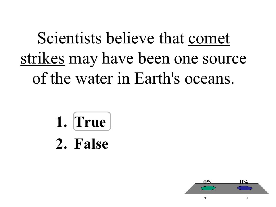 Scientists believe that comet strikes may have been one source of the water in Earth s oceans.