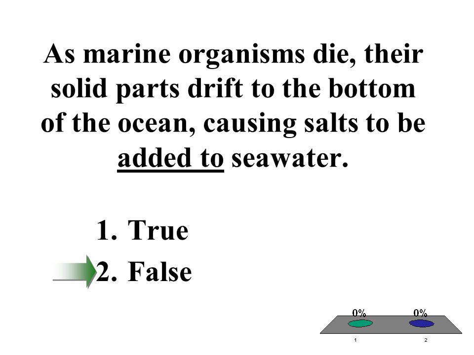 As marine organisms die, their solid parts drift to the bottom of the ocean, causing salts to be added to seawater.