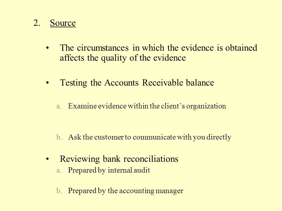 Testing the Accounts Receivable balance