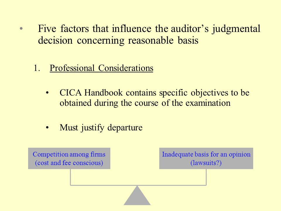 Five factors that influence the auditor's judgmental decision concerning reasonable basis