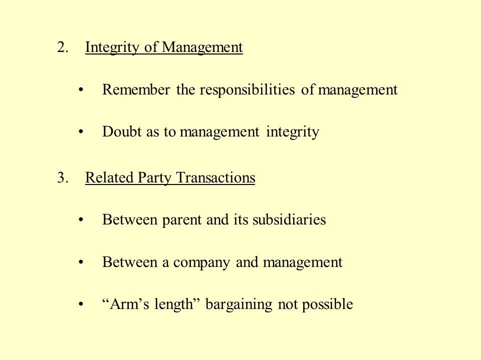 Integrity of Management