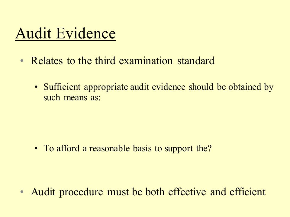 Audit Evidence Relates to the third examination standard