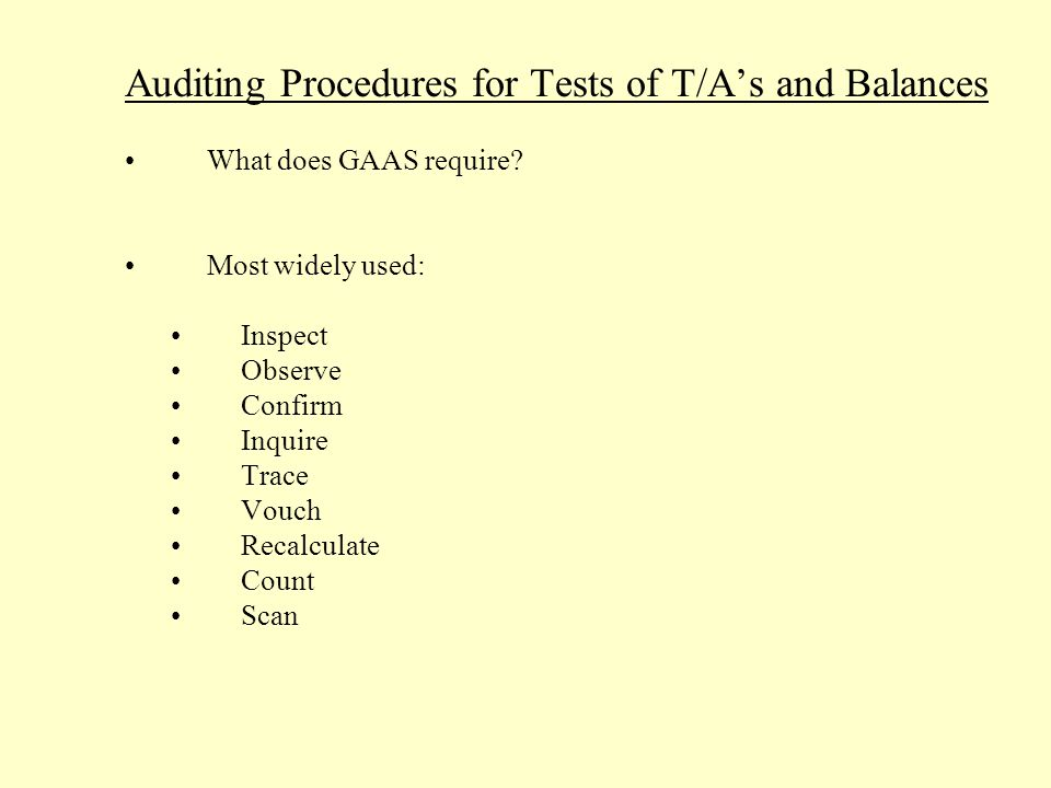 Auditing Procedures for Tests of T/A's and Balances