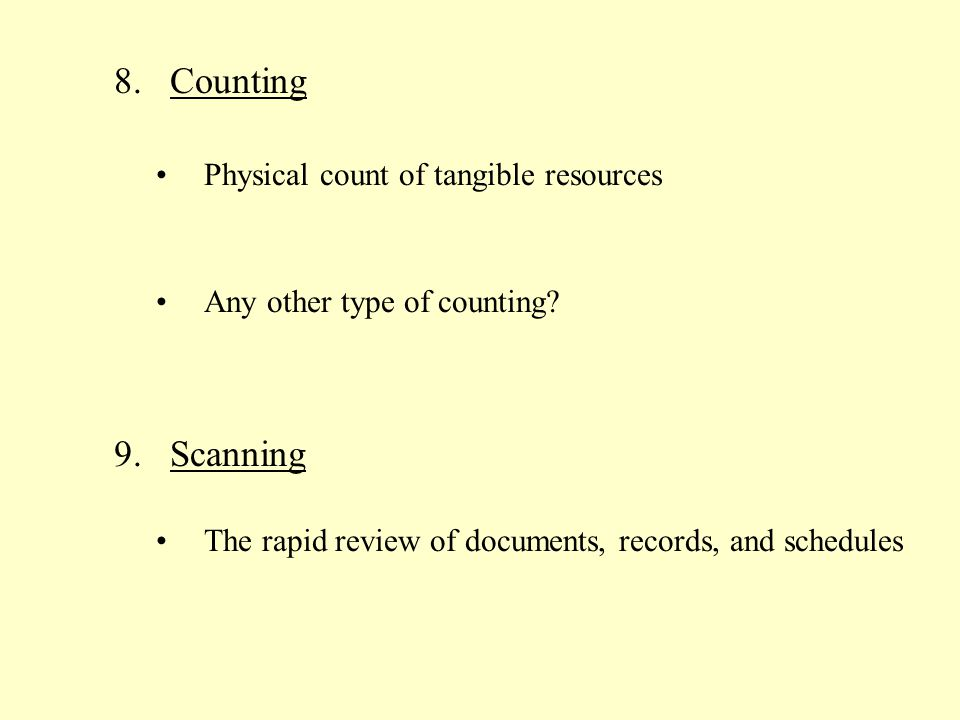 Counting Scanning Physical count of tangible resources