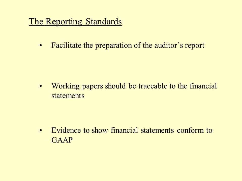 The Reporting Standards