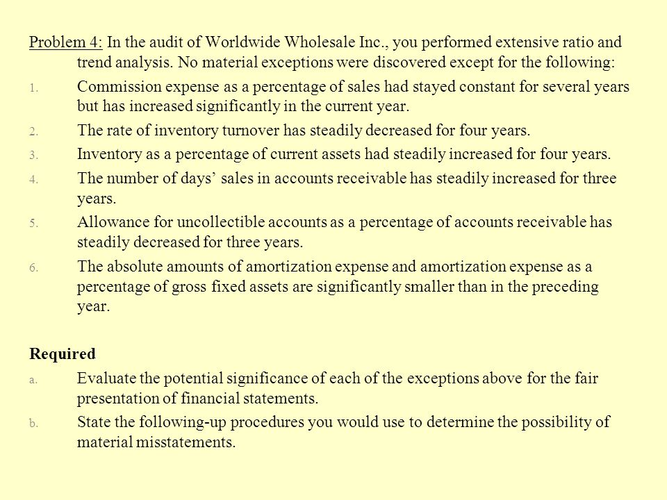 Problem 4: In the audit of Worldwide Wholesale Inc