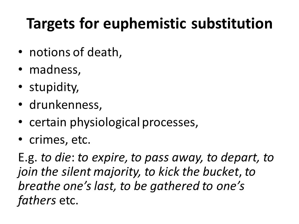 Targets for euphemistic substitution