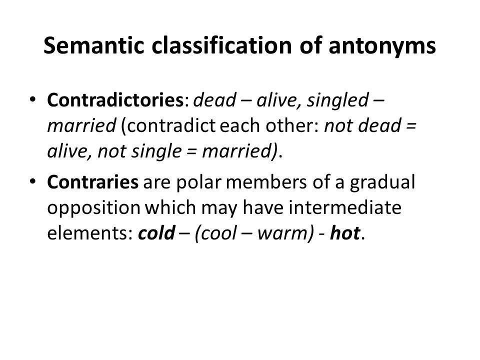 Semantic classification of antonyms