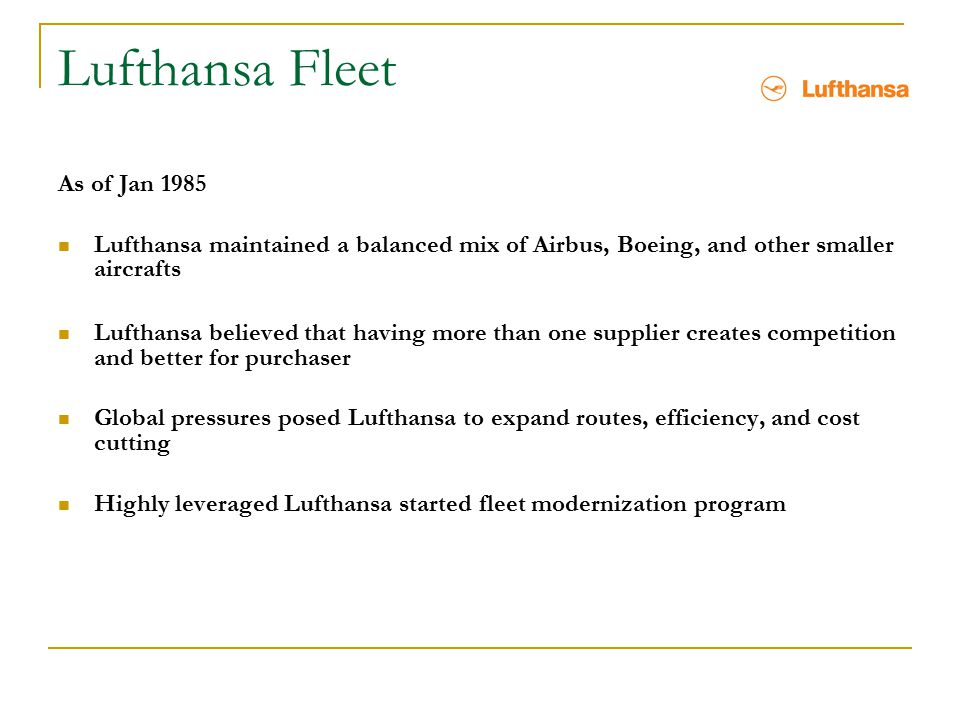 Lufthansa Fleet As of Jan 1985