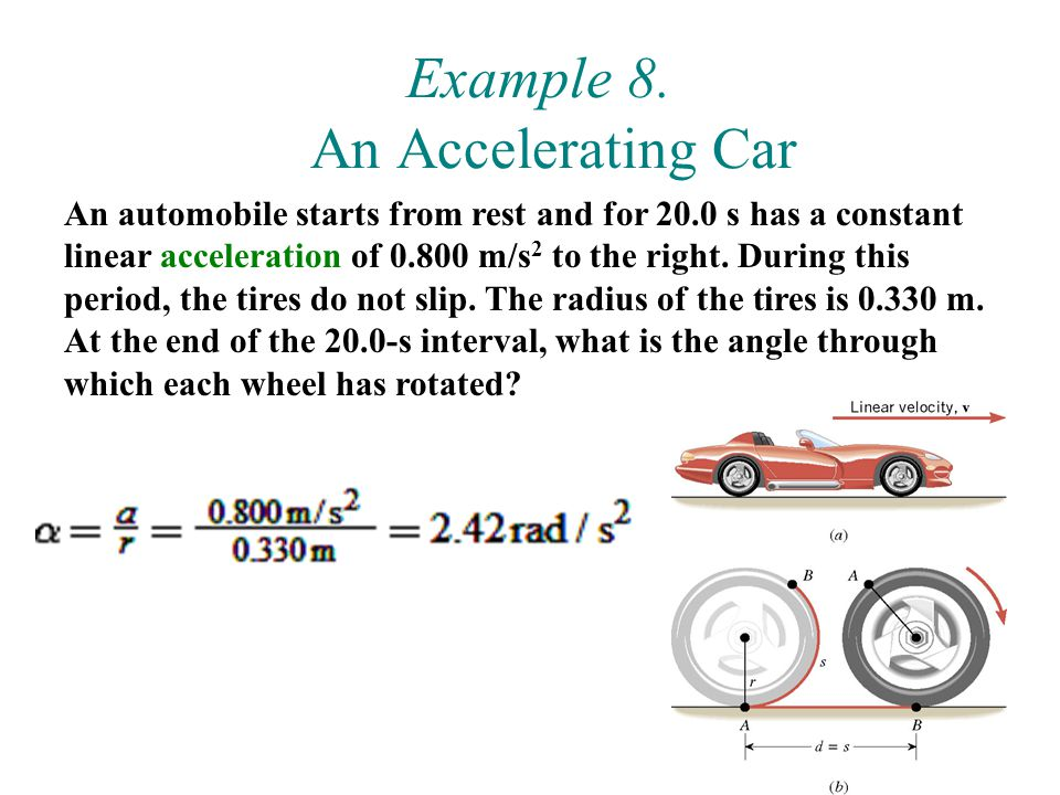 Example 8. An Accelerating Car