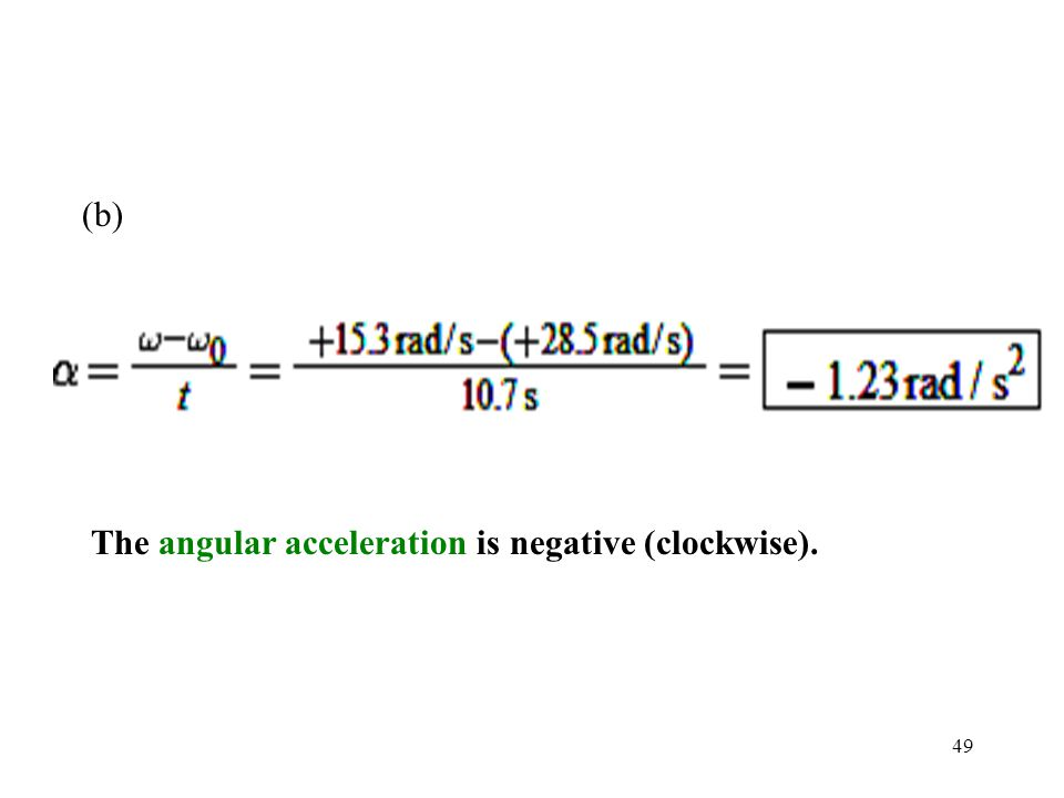The angular acceleration is negative (clockwise).