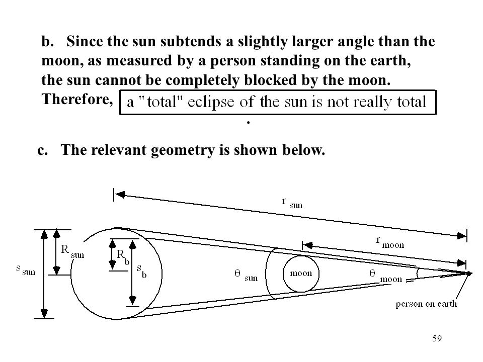 b. Since the sun subtends a slightly larger angle than the moon, as measured by a person standing on the earth, the sun cannot be completely blocked by the moon. Therefore, .