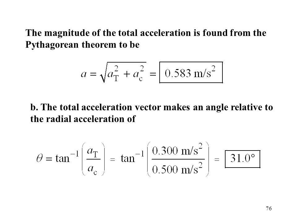 The magnitude of the total acceleration is found from the Pythagorean theorem to be