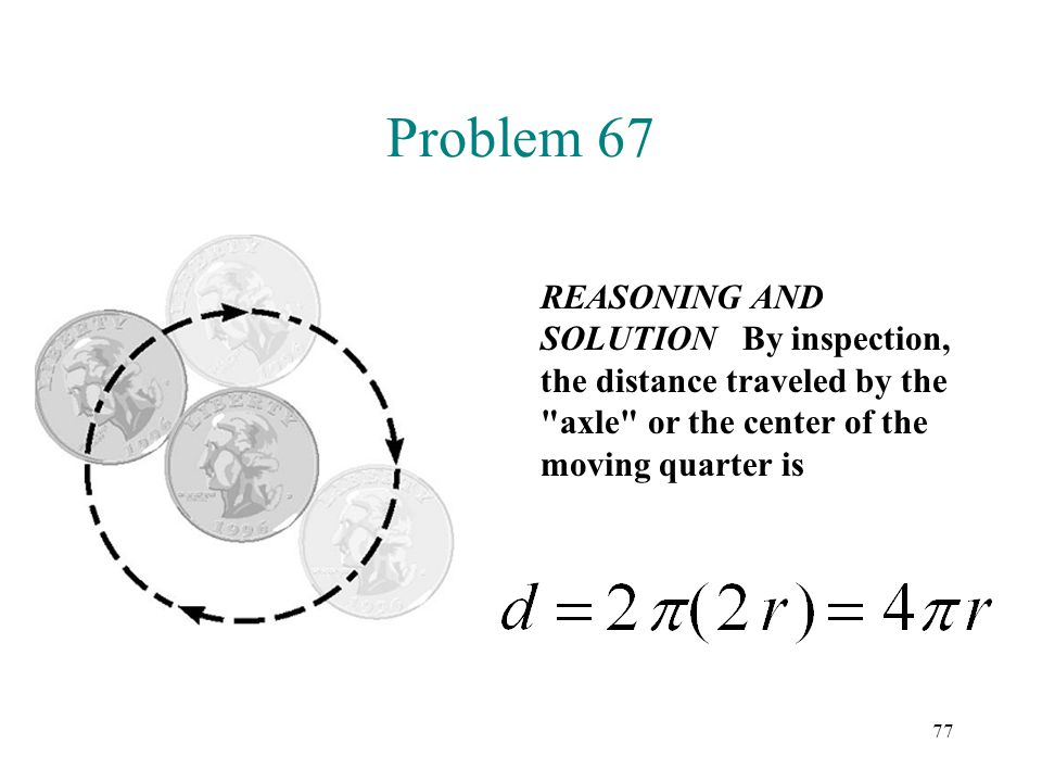 Problem 67 REASONING AND SOLUTION By inspection, the distance traveled by the axle or the center of the moving quarter is.