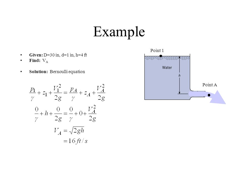 Example Point 1 Given: D=30 in, d=1 in, h=4 ft Find: VA