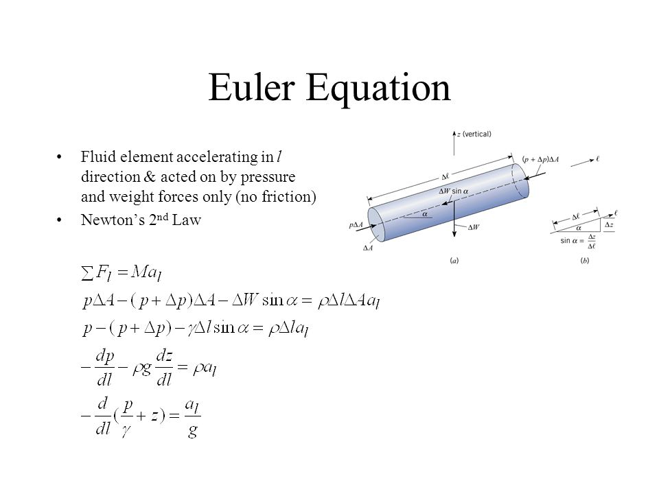 Euler Equation Fluid element accelerating in l direction & acted on by pressure and weight forces only (no friction)