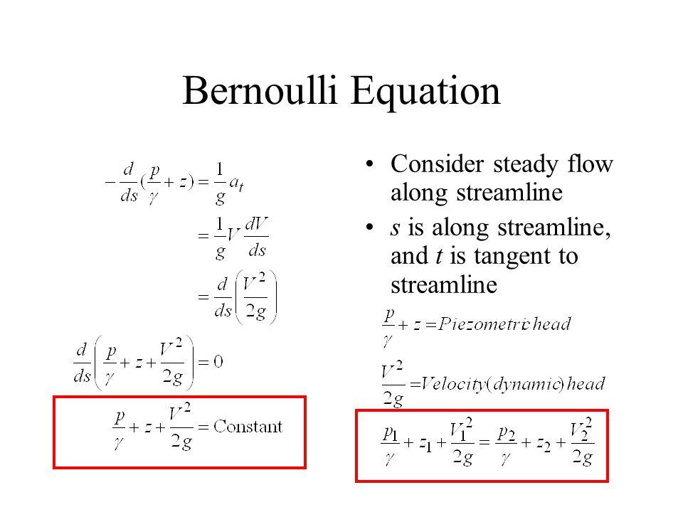 Bernoulli Equation Consider steady flow along streamline