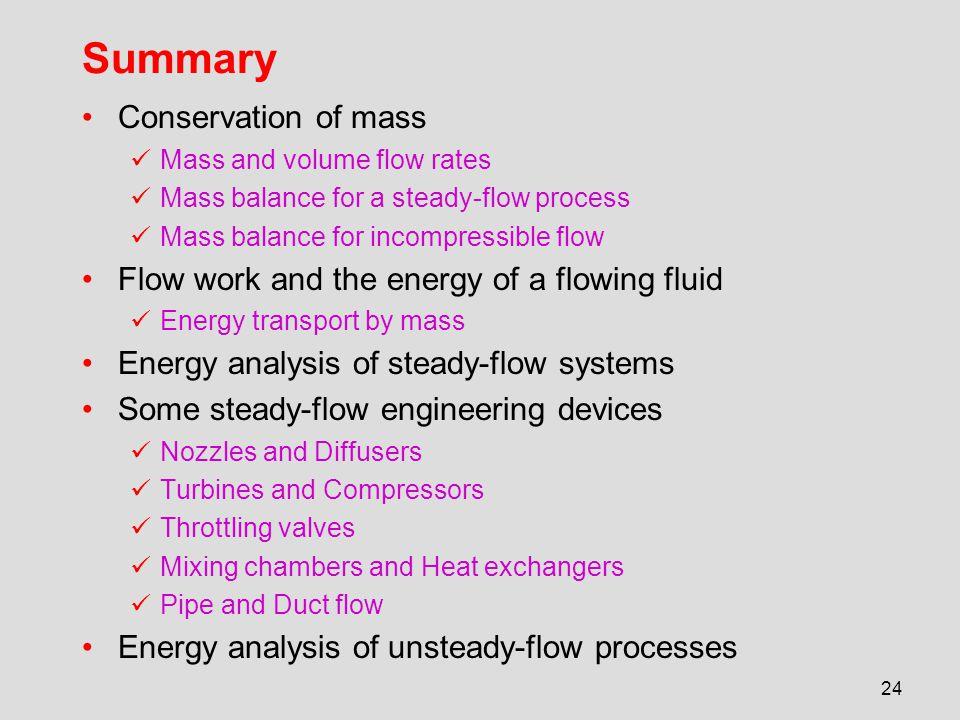 Summary Conservation of mass