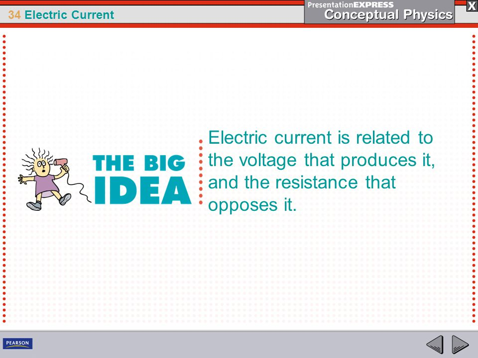 Electric current is related to the voltage that produces it, and the resistance that opposes it.