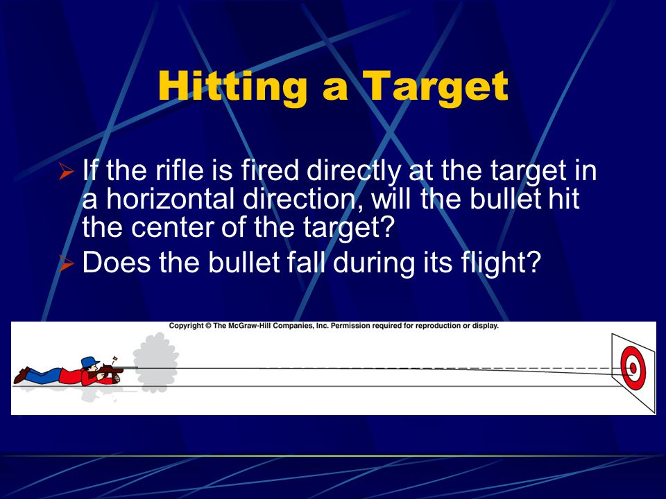 Hitting a Target If the rifle is fired directly at the target in a horizontal direction, will the bullet hit the center of the target