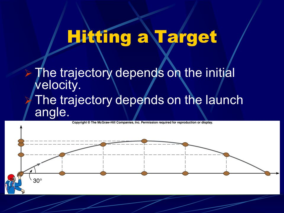 Hitting a Target The trajectory depends on the initial velocity.