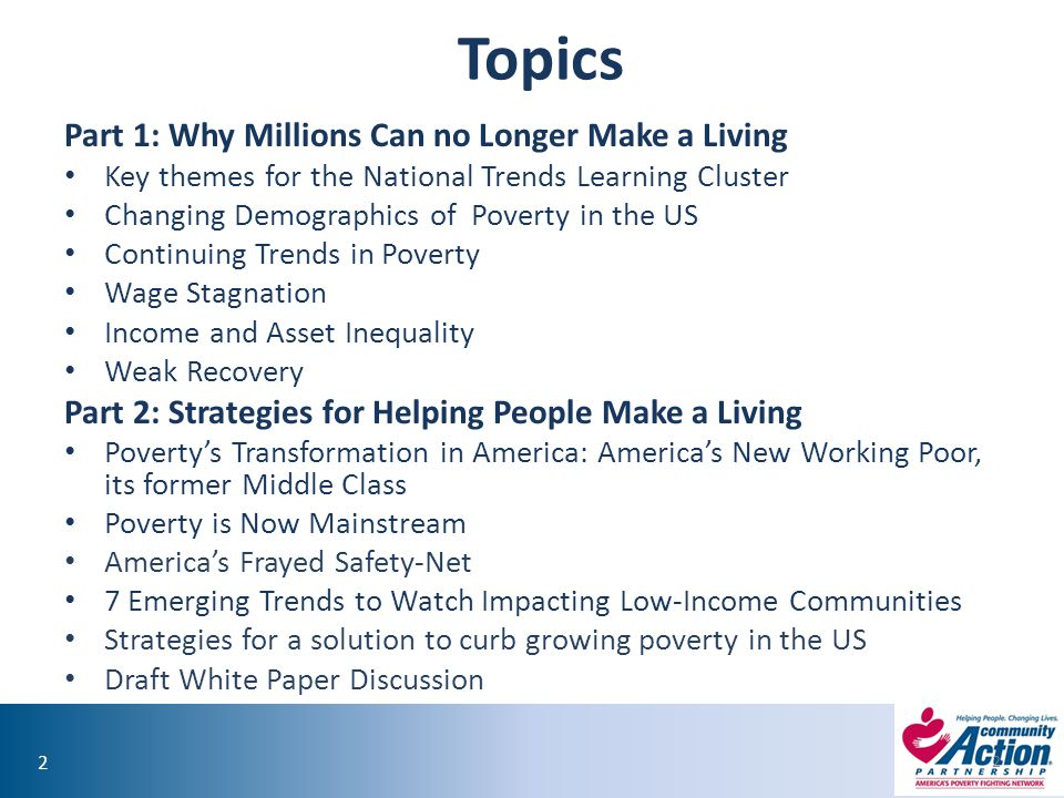Topics Part 1: Why Millions Can no Longer Make a Living