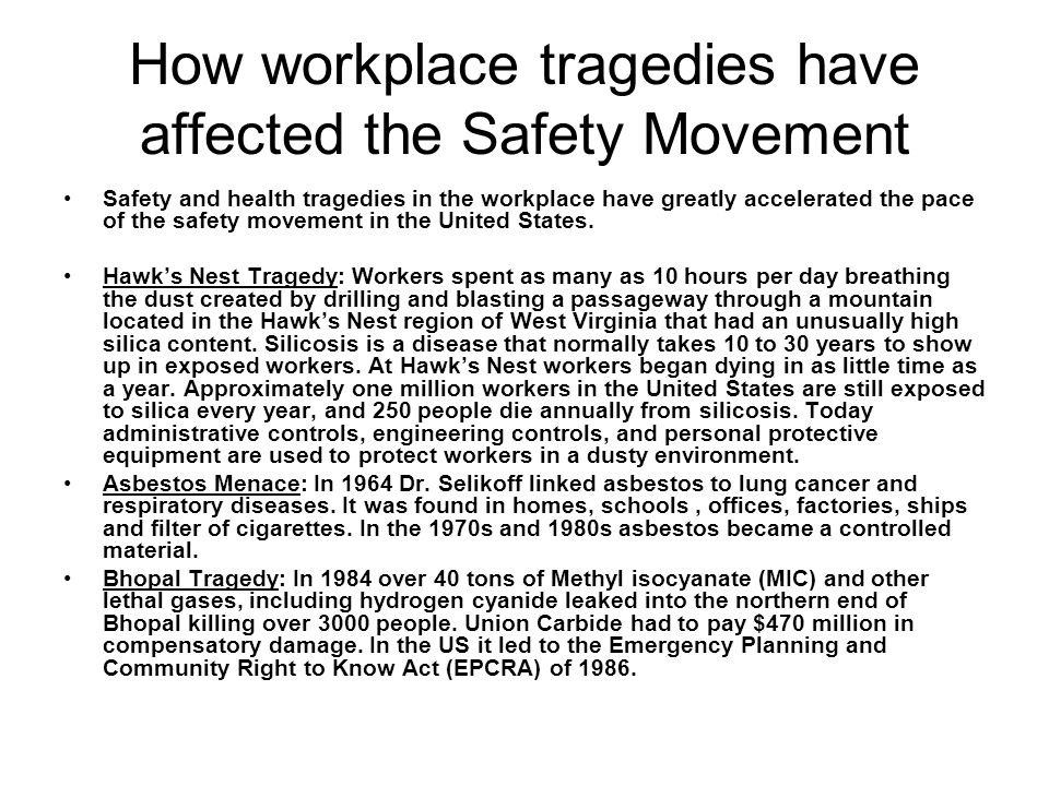 How workplace tragedies have affected the Safety Movement