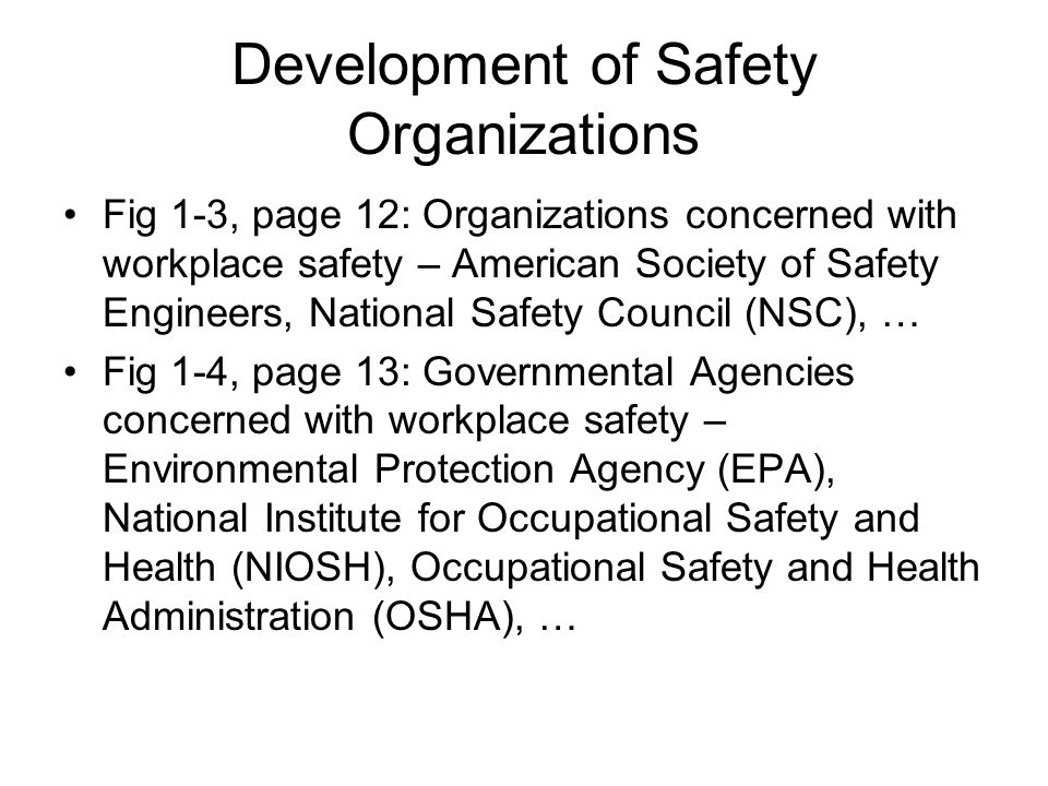 Development of Safety Organizations