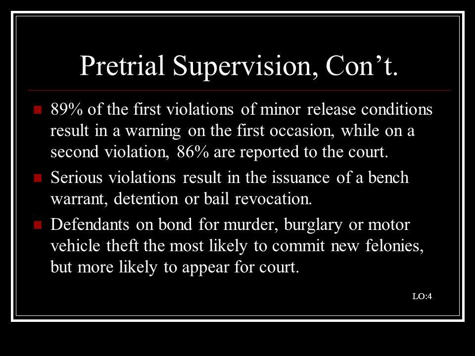 Pretrial Supervision, Con't.