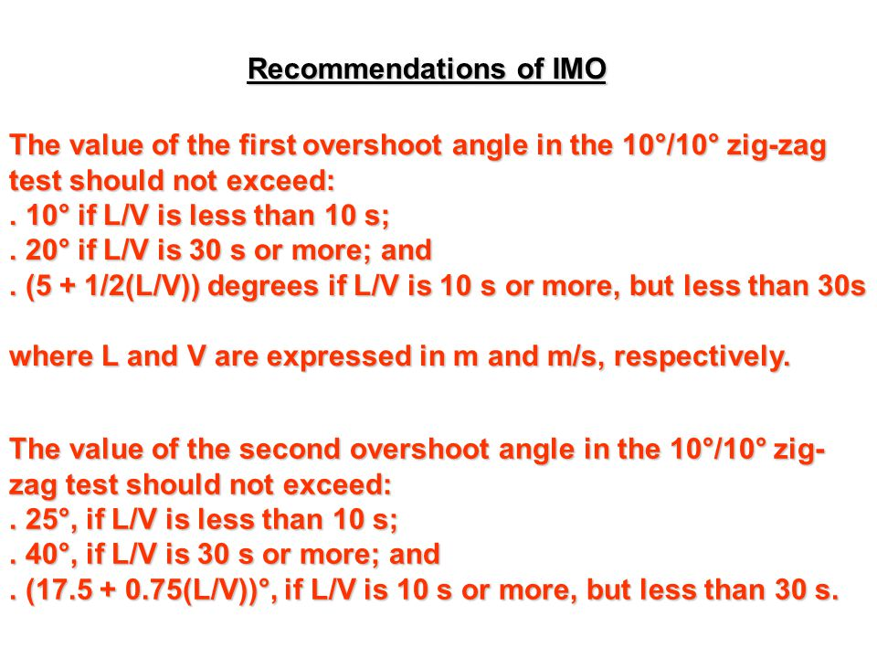 Recommendations of IMO