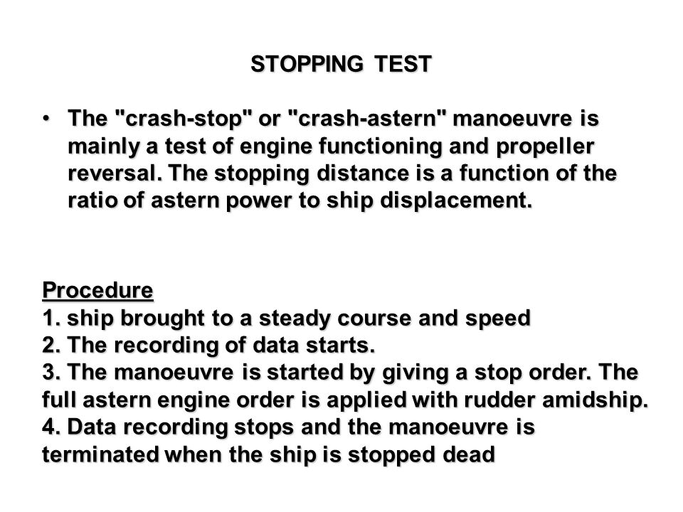 STOPPING TEST