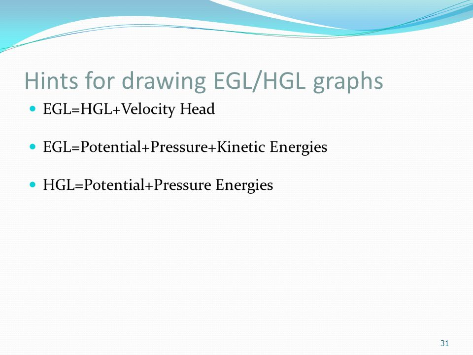 Hints for drawing EGL/HGL graphs