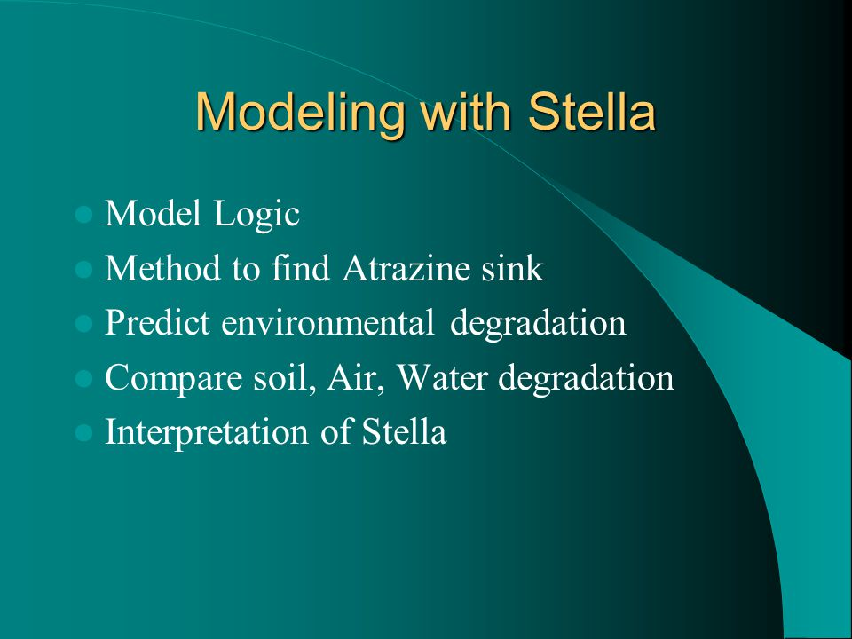Modeling with Stella Model Logic Method to find Atrazine sink