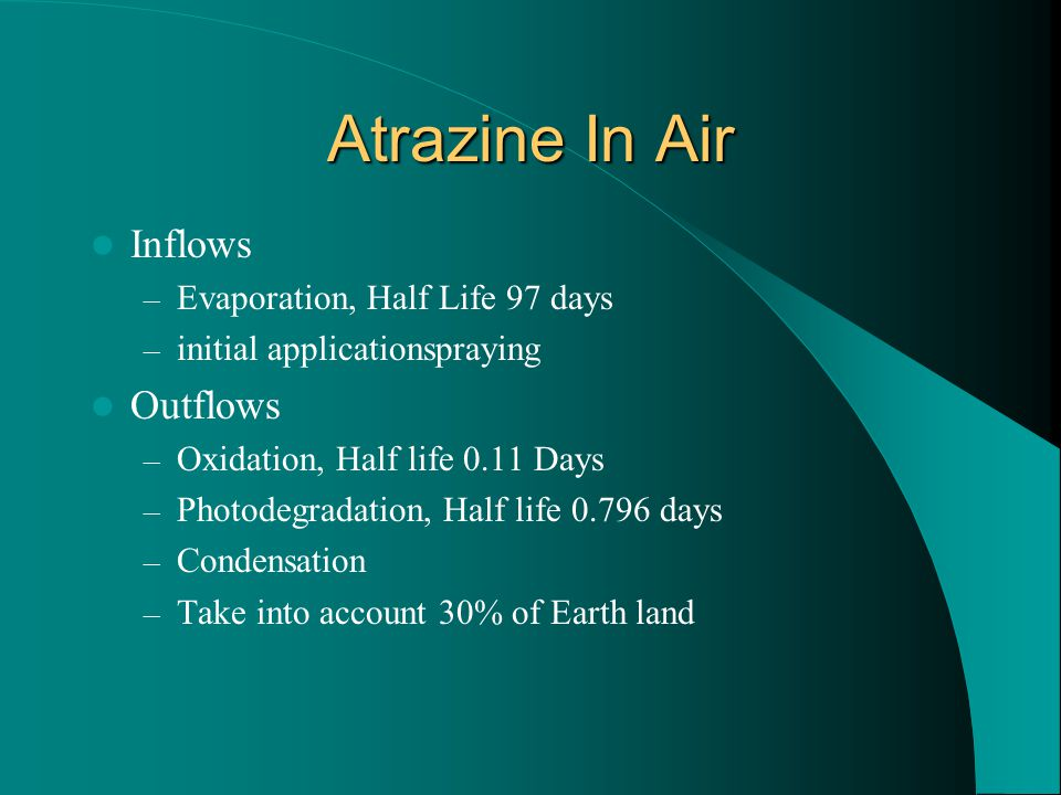 Atrazine In Air Inflows Outflows Evaporation, Half Life 97 days