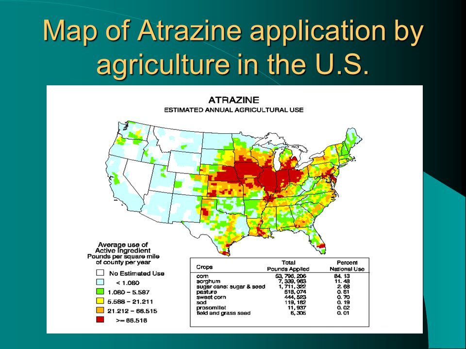 Map of Atrazine application by agriculture in the U.S.